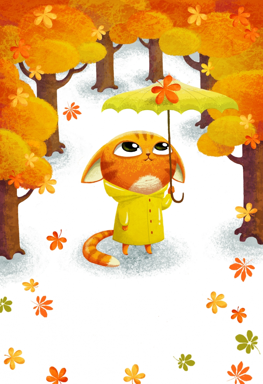 cat ginger autumn leafs umbrella
