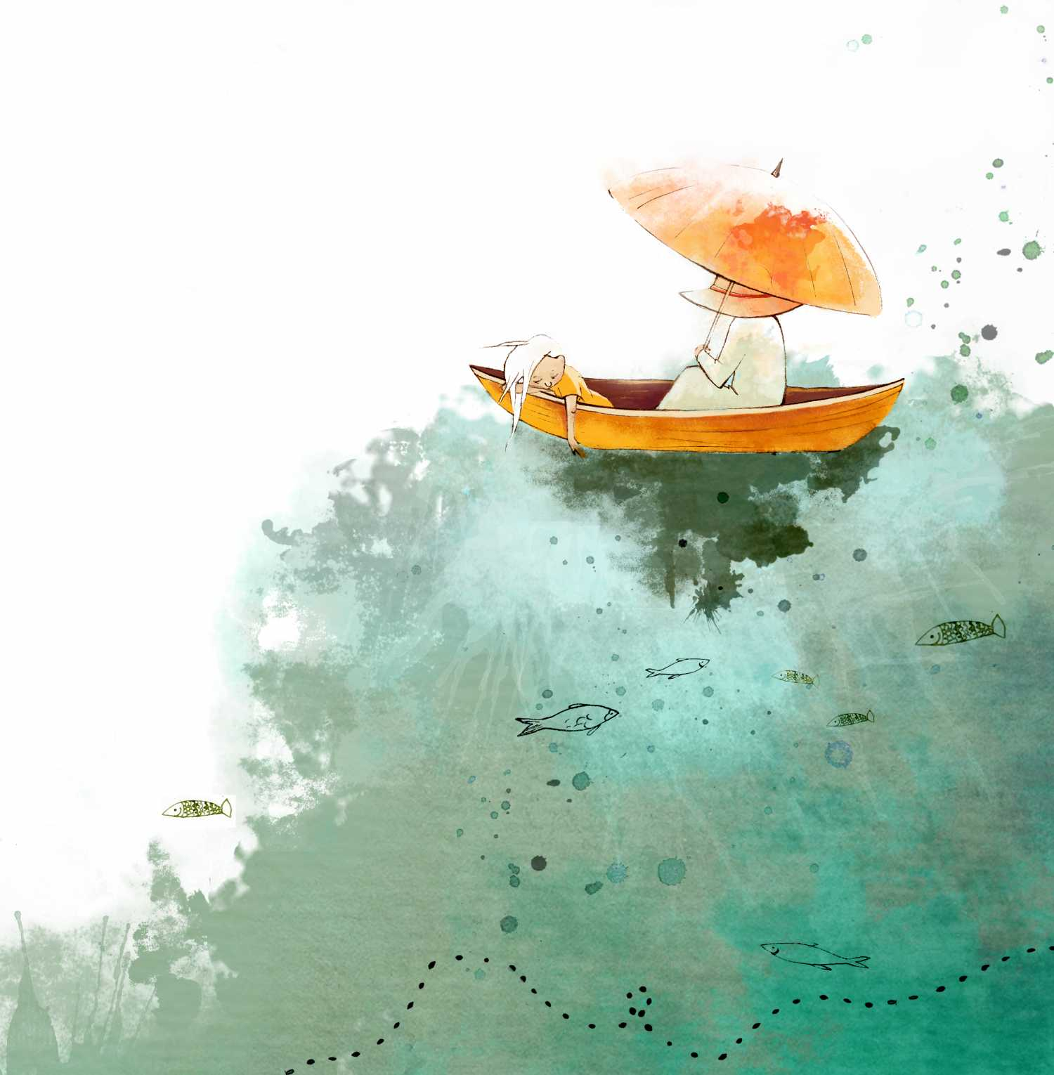 in a boat girl water illustration